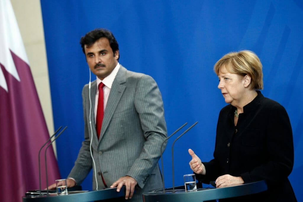 German Chancellor Angela Merkel (R) and Qatar's ruler Emir Sheikh Tamim bin Hamad al-Thani attend a news conference after talks at the Chancellery in Berlin. (Image: Reuters)