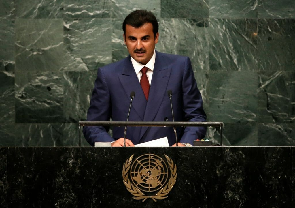 The Emir of Qatar Sheikh Tamim bin Hamad Al Thani addresses the United Nations General Assembly in the Manhattan borough of New York, US. (Image: Reuters)