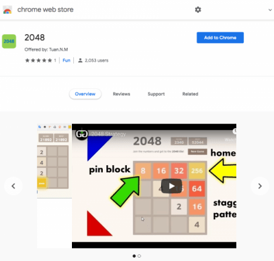 Figure 2. The 2048 extension has over 2,100 users